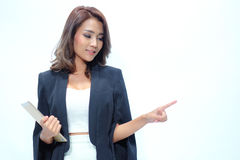 Portrait beautiful asian woman standing , showing blank area for stock photo