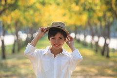 Portrait of beautiful asian woman toothy smiling face wearing fa Royalty Free Stock Photos