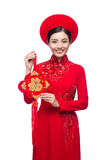 Portrait of a beautiful Asian woman on traditional festival cost Royalty Free Stock Photos
