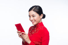 Portrait of a beautiful Asian woman on traditional festival cost Stock Photo