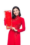 Portrait of a beautiful Asian woman on traditional festival cost Royalty Free Stock Photo
