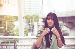 Portrait beautiful asian woman walking in the city,Female confidence happy and smiling,Lifestyle concept stock photo