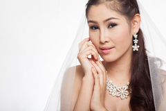 Portrait beautiful asian woman in white wedding dress with veil Royalty Free Stock Images