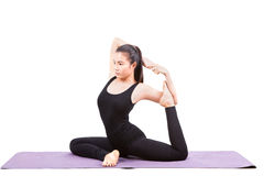 Portrait of beautiful asian younger woman posting yoga for healt Royalty Free Stock Photography