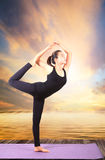 Portrait of beautiful asian younger woman posting yoga for healt Stock Images