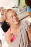 Portrait of beautiful athletic girl smiling Stock Photos