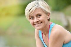 Portrait of beautiful athletic senior woman Stock Photos