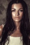 Portrait beautiful attractive brunette woman long curly wet hair Stock Images