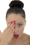 Portrait Of A Beautiful Attractive Shocked Shy And Embarrassed Y stock images
