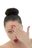 Portrait Of A Beautiful Attractive Shocked Shy And Embarrassed Y royalty free stock images