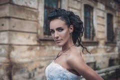 Portrait of beautiful attractive young brunette bride stock image