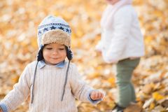 Portrait of beautiful baby boy posing at the park. Autumn season.  royalty free stock images