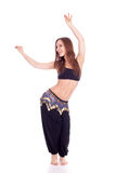 Portrait of a beautiful belly dancer, full length Royalty Free Stock Photo