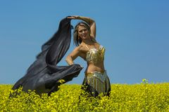 Portrait of a beautiful belly dancer stock images