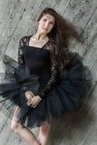 Portrait of a beautiful belt brunette ballerina in Royalty Free Stock Image