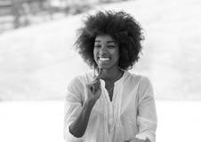 Portrait of beautiful black girl stock photo