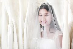 Portrait of beautiful black hair Asian bride with happily smile royalty free stock image