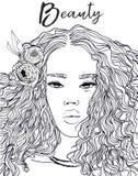 Portrait of beautiful black woman stock illustration