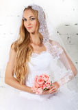 Portrait of a beautiful blond bride Stock Images