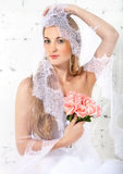 Portrait of a beautiful blond bride Stock Photos