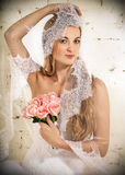 Portrait of a beautiful blond bride Royalty Free Stock Photography