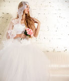 Portrait of a beautiful blond bride Stock Photography