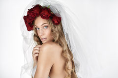 Portrait of a beautiful blond bride Royalty Free Stock Photo
