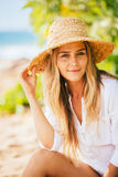 Portrait of beautiful blond girl on the beach Stock Image