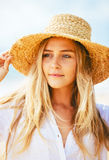Portrait of beautiful blond girl on the beach Stock Images