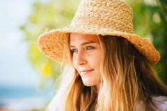 Portrait of beautiful blond girl on the beach Royalty Free Stock Images