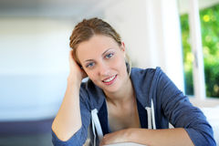 Portrait of beautiful blond girl at home Royalty Free Stock Photography