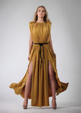 Portrait of the beautiful blond girl in long dress Stock Images