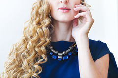 Portrait of the beautiful blond girl with long hair Royalty Free Stock Photo