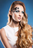 Portrait of beautiful blond girl with make up Stock Photos
