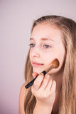 Portrait of beautiful blond girl, makeup Royalty Free Stock Image
