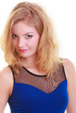 Portrait of beautiful blond girl in sexy deep blue dress isolated Royalty Free Stock Photo