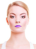 Portrait beautiful blond girl woman with violet lips. Creative makeup. Royalty Free Stock Images