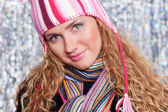 Portrait of beautiful blond in hat and scarf Stock Photography