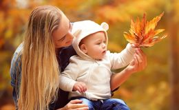 Mother with son in autumn park. Portrait of a beautiful blond mother showing to her little son beauty of autumn nature, holding in hand dry orange maple leaves royalty free stock photo