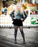Portrait of a Beautiful Blond Teenage Girl in Leather Royalty Free Stock Photography