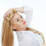 Portrait of beautiful blond woman. Posing on white Stock Images