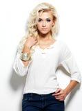 Portrait of beautiful blond woman Stock Photos