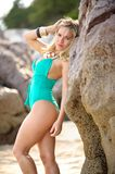 Portrait of beautiful blond woman on the beach Stock Photography