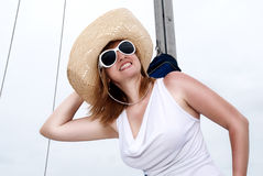 Portrait of a beautiful blond woman in hat Royalty Free Stock Photos