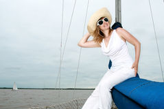 Portrait of a beautiful blond woman in hat Stock Photo