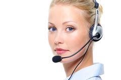 Portrait of beautiful blond woman with headphones Royalty Free Stock Image