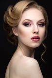 Portrait of a beautiful blond woman in the image of the bride. Beauty face Stock Photo