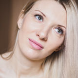 Portrait of beautiful blond woman with natural makeup, head hot Royalty Free Stock Photography