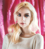 Portrait of beautiful blond woman. Royalty Free Stock Photography