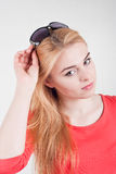 Portrait of beautiful blond young Caucasian woman Royalty Free Stock Photo